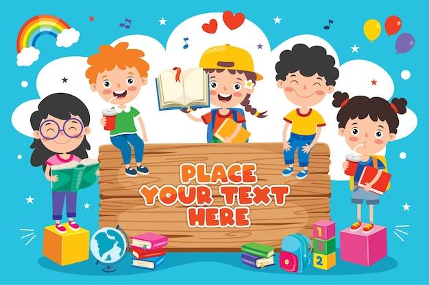 Torna al concetto di scuola con bambini divertenti