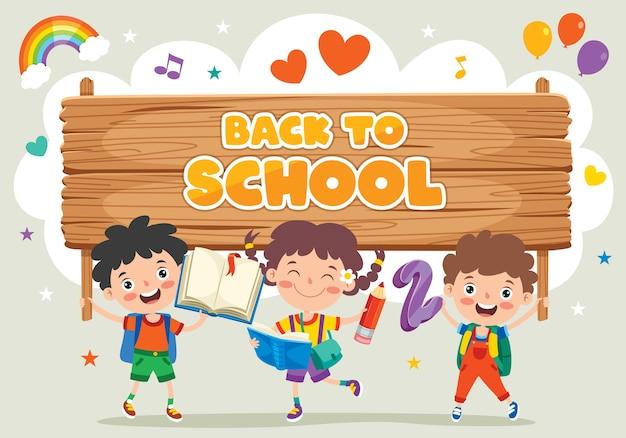 Torna al concetto di scuola con bambini divertenti Vettore Premium