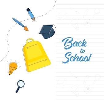 Torna al concetto di scuola con vista dall'alto di elementi di forniture su sfondo bianco.