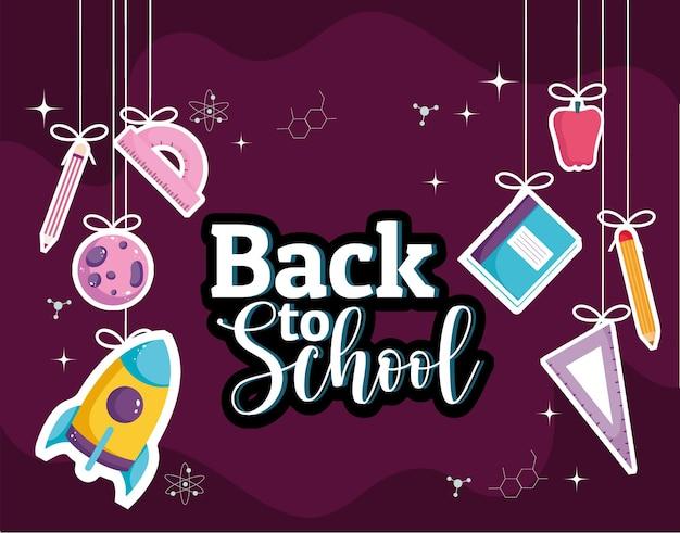 Torna a scuola banner creativo con appeso illustrazione di forniture
