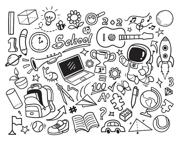 Ritorno a scuola e scarabocchio di idee creative
