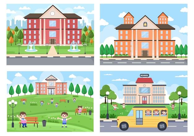 Ritorno a scuola, autobus carino e alcuni bambini stanno giocando nell'illustrazione del cortile anteriore