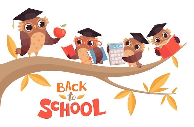 Di nuovo a scuola. gufi del bambino simpatico cartone animato e insegnante sul ramo di un albero