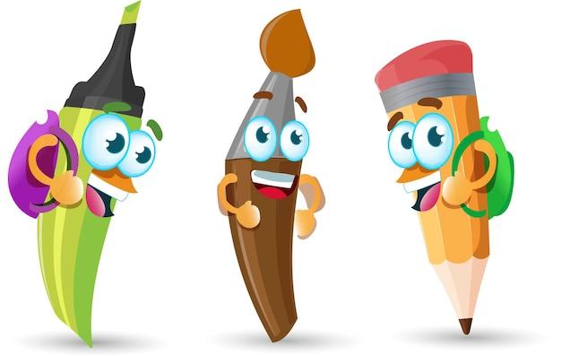 Ritorno a scuola simpatici personaggi dei cartoni animati e materiale scolastico kawaii mascotte matita