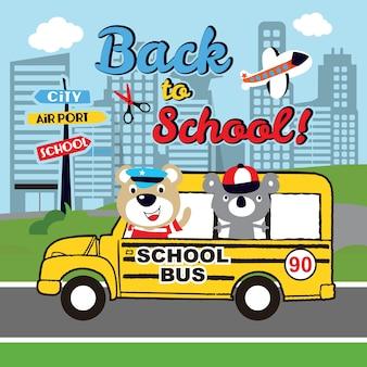 Torna a scuola vettore simpatico cartone animato
