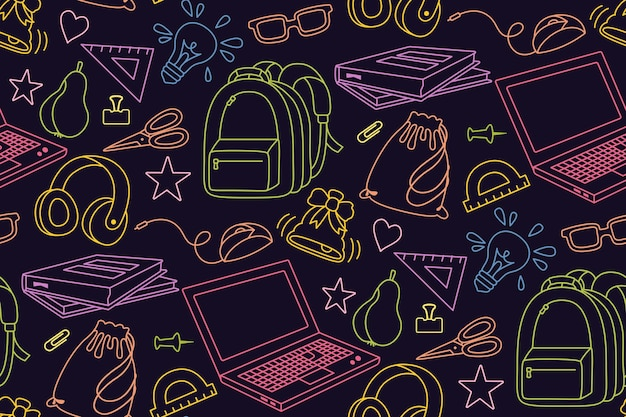 Torna a scuola doodle schizzo colorato modello senza cuciture apprendimento scuola linea tessile primo giorno di scuola attrezzature educazione concetto icona forbici laptop occhiali libro zaino vernici