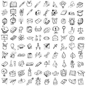 Torna a scuola doodle set. varie cose scolastiche - forniture per sport, arte, lettura, scienze, geografia, biologia, fisica, matematica, astronomia, chimica. vettore isolato su sfondo bianco.