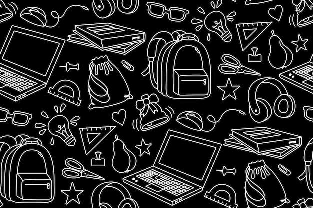 Torna a scuola doodle schizzo bianco senza cuciture apprendimento scuola linea tessile primo giorno di attrezzature scolastiche concetto di formazione forbici laptop occhiali libro zaino vernici sfondo nero Vettore Premium