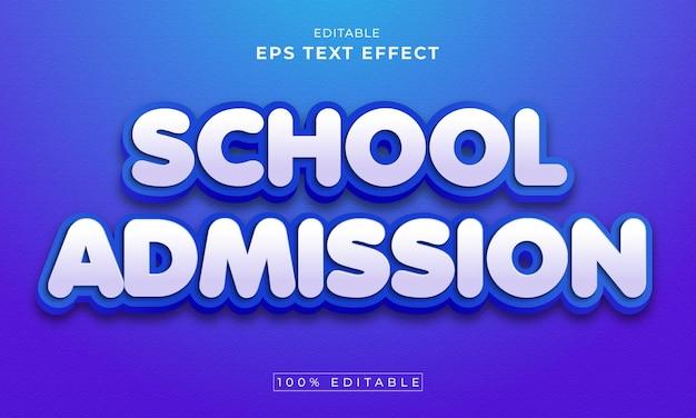 Torna a scuola effetto testo 3d modificabile premium vector