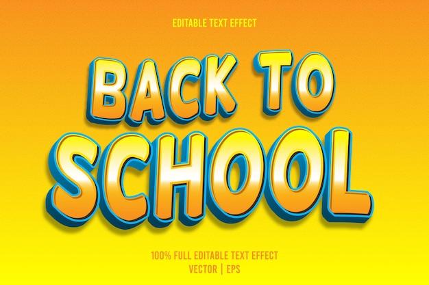 Ritorno a scuola effetto testo modificabile 3 dimensioni in rilievo in stile cartone animato