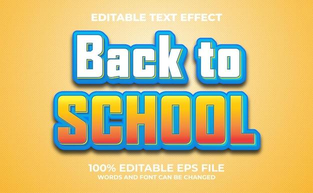 Ritorno a scuola effetto testo modificabile vettore premium