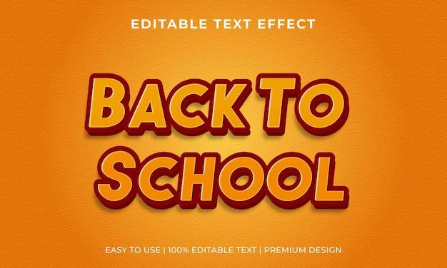 Torna a scuola effetto testo modificabile vettore premium