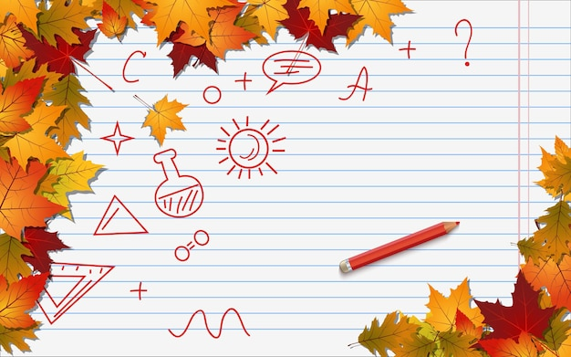 Ritorno a scuola, fondo di vettore di stile di autunno di istruzione