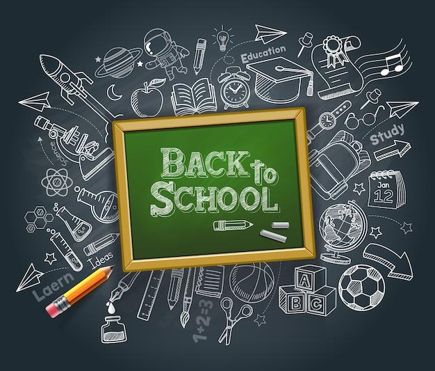 Torna all'illustrazione di stile di doodle di concetto di istruzione scolastica