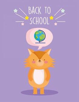 Torna all'istruzione scolastica carino mappamondo pensieroso volpe