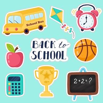 Torna a scuola insieme disegnato a mano di istruzione. insieme dell'album. adesivo.con cappello laurea, pergamena, mela, libri, boccette, pallacanestro, sveglia, valigetta, zaino, scuolabus, mappamondo, righello
