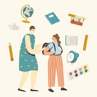 Ritorno a scuola, istruzione e preparazione per lo studio dell'illustrazione.