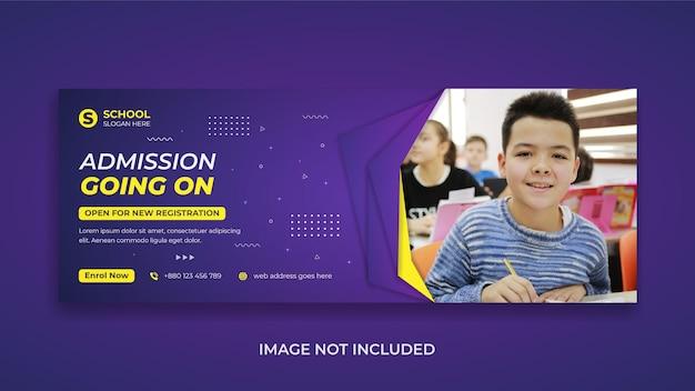 Ritorno a scuola istruzione social media post copertina facebook e banner web con forma astratta e ombra realistica
