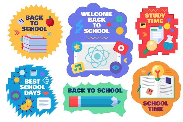 Ritorno al vettore di raccolta di adesivi per l'istruzione scolastica