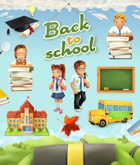 Di nuovo a scuola. set di clipart vettoriali di educazione