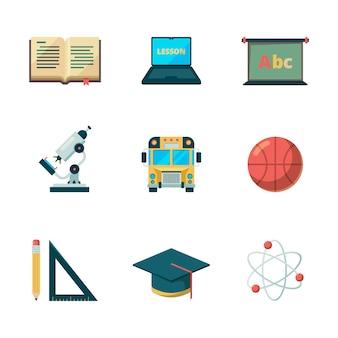 Icona piana di ritorno a scuola. istruzione che impara le immagini di applicazione dei college di simboli di graduazione
