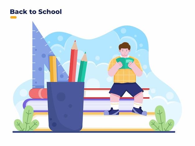 Ritorno a scuola illustrazione piatta con bambini seduti su un enorme libro con un enorme articolo di cancelleria