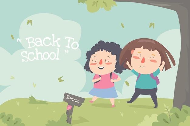 Torna a scuola piatto ilustration carino bambino desin