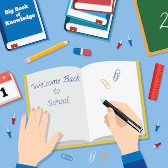 Torna a scuola stile piatto sfondo con libri matite penna e altri stazionari
