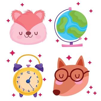 Torna a scuola volpe scoiattolo e icone design, classe di educazione e tema della lezione