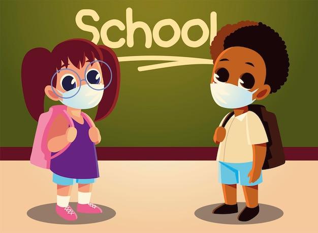 Torna a scuola di ragazza e ragazzo afro con maschere mediche, allontanamento sociale e tema educativo