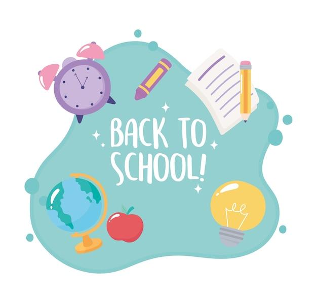 Ritorno a scuola, matita di carta della mela dell'orologio della mappa glogal, poster di istruzione elementare
