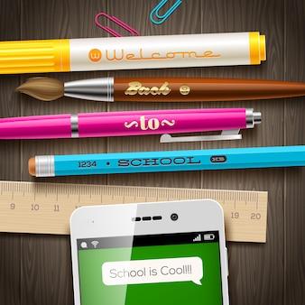 Di nuovo al saluto della scuola - illustrazione con gli articoli della cancelleria e dello smartphone