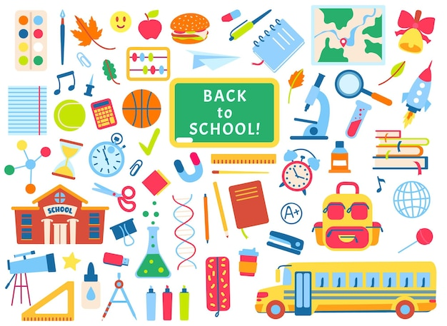 Torna a scuola elementi disegnati a mano fornisce scarabocchi libri quaderni lavagna vettore set