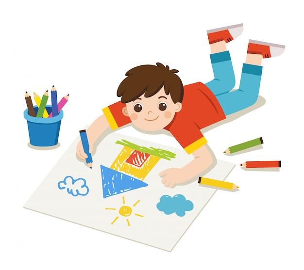 Di nuovo a scuola, happy boy disegna immagini matite e vernici sul pavimento. vettore isolato.