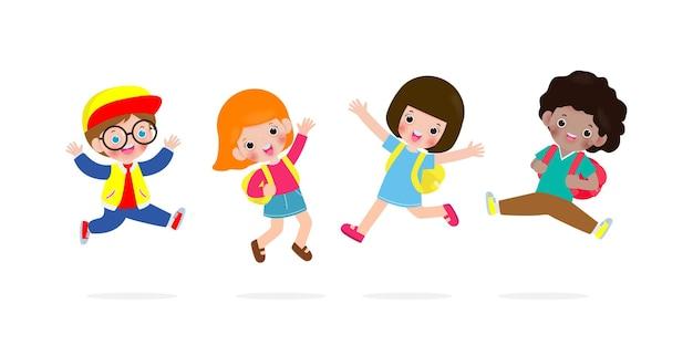 Ritorno a scuola per bambini felici che saltano e ballano con lo zaino