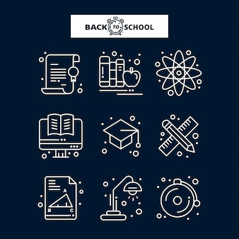 Icona di ritorno a scuola. set di icone linea istruzione e apprendimento.