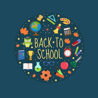 Icona di ritorno a scuola impostata in forma rotonda piatta in stile cartone animato collezione di istruzione
