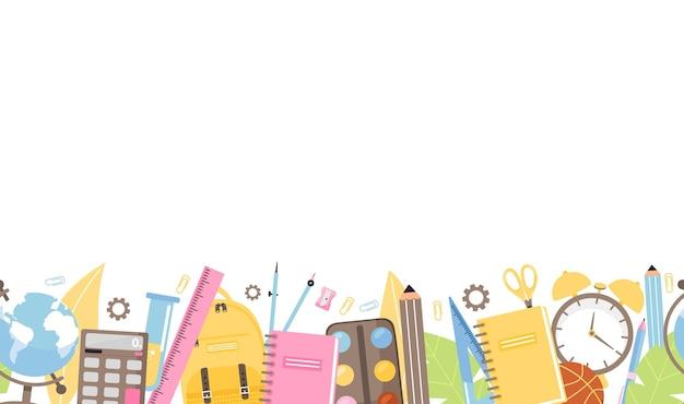 Torna a scuola illustrazione bordo senza soluzione di continuità con la raccolta di varie forniture scolastiche