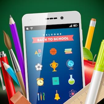 Torna a scuola illustrazione con smartphone e articoli di cancelleria