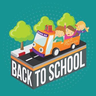 Torna a scuola bambini che cavalcano lo scuolabus