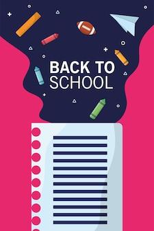 Torna a scuola lettering stagione con foglio di quaderno e flusso di forniture