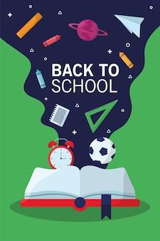 Torna a scuola lettering stagione con libro di testo e flusso di forniture