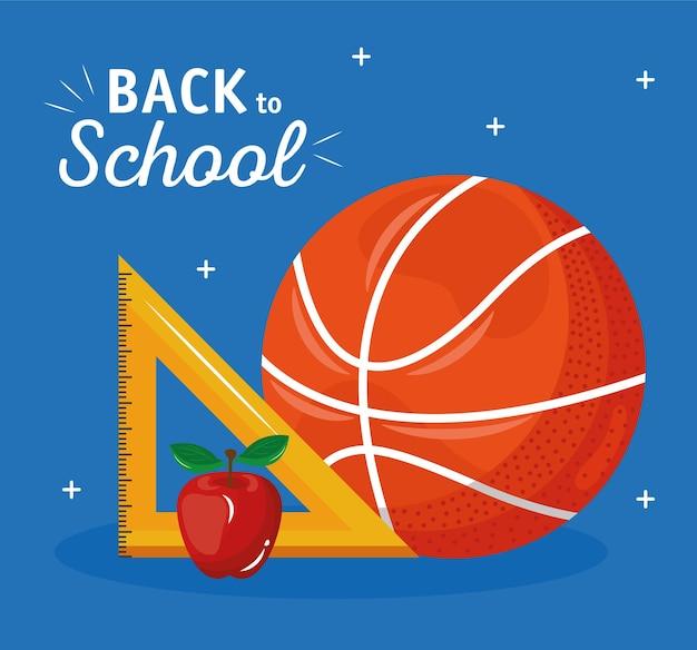 Torna a scuola scritte con palloncino da basket e regola