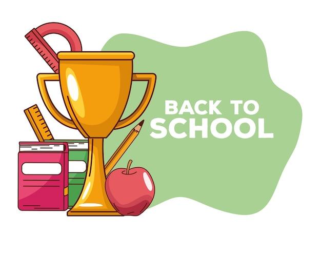 Torna a scuola lettering con trofeo e oggetti
