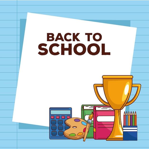 Torna a scuola lettering con trofeo e forniture