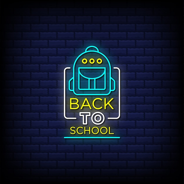 Torna al testo di stile delle insegne al neon della scuola con un'icona della borsa della scuola
