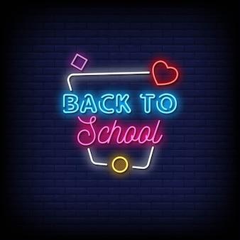 Torna a scuola insegne al neon in stile testo