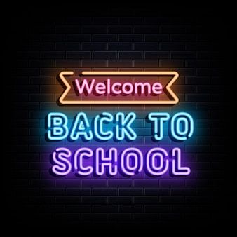 Simbolo dell'insegna al neon del testo al neon di ritorno a scuola