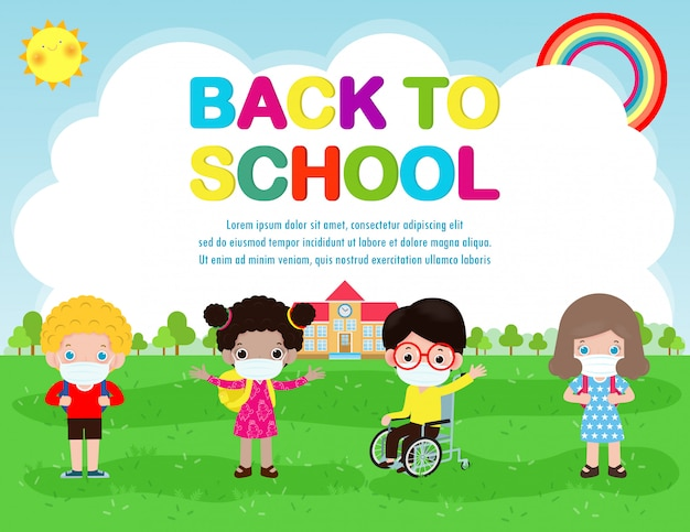 Ritorno a scuola per il nuovo concetto di stile di vita normale, felice ragazzo disabile in sedia a rotelle e amici che indossano la maschera