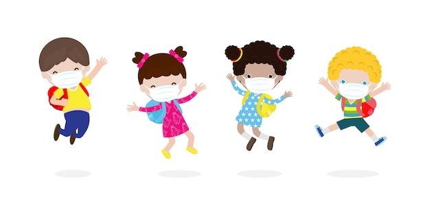 Torna a scuola per un nuovo concetto di stile di vita normale. bambini felici che saltano indossando maschera per il viso proteggono il virus corona o covid 19, un gruppo di bambini e amici va a scuola isolato su sfondo bianco vettore